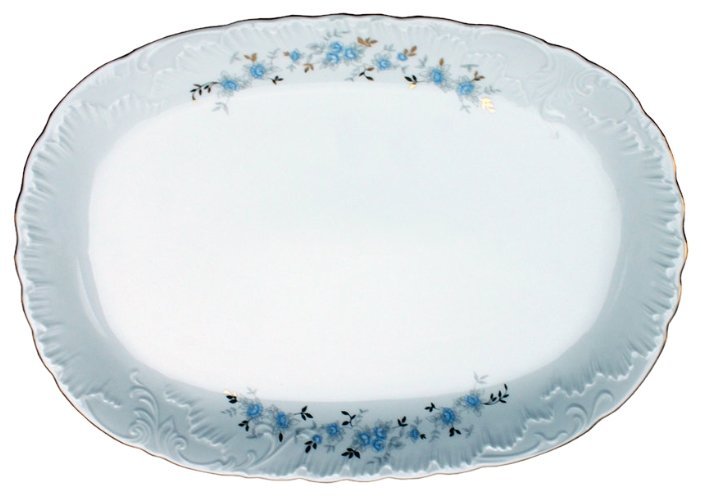 Cmielow Блюдо овальное Rococo Голубой цветок 33 x 22 см