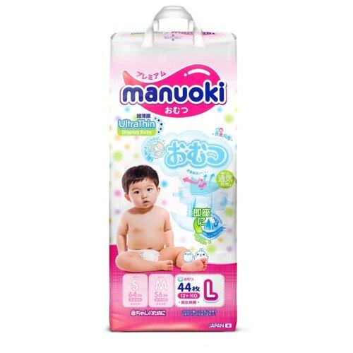 Manuoki подгузники UltraThin L (12+ кг) 44 шт., Подгузники  - купить со скидкой