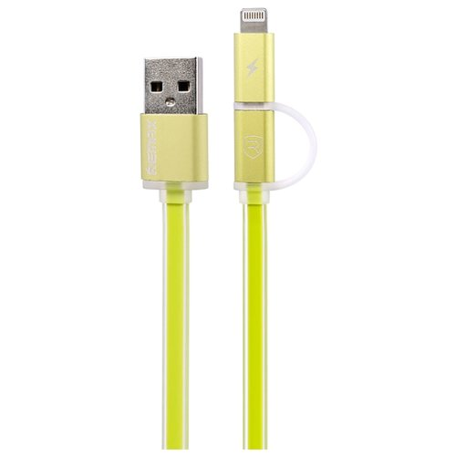 Купить Кабель Remax Aurora USB - microUSB/Apple Lightning (RC-020t) 1 м зеленый