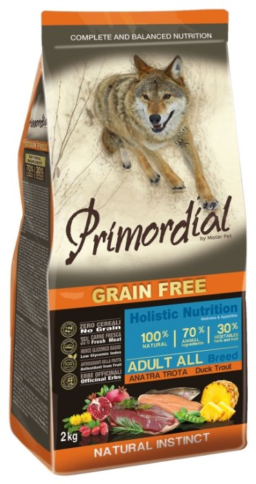 Корм для собак Primordial Adult All Breed Утка, форель