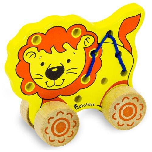 Каталка-игрушка Alatoys Лев (ШЛВ01) желтый/оранжевый