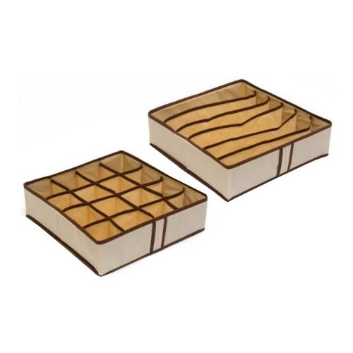HOMSU Комплект из 2 органайзеров для нижнего белья Bora-Bora бежевый/коричневыйОрганайзеры и кофры<br>