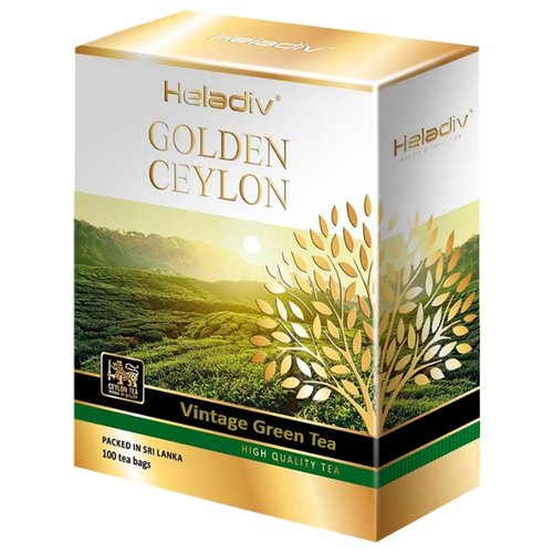 Чай зеленый Heladiv Golden Ceylon Vintage green в пакетиках, 100 шт. чай зеленый heladiv golden ceylon green gunpowder tea 100 г