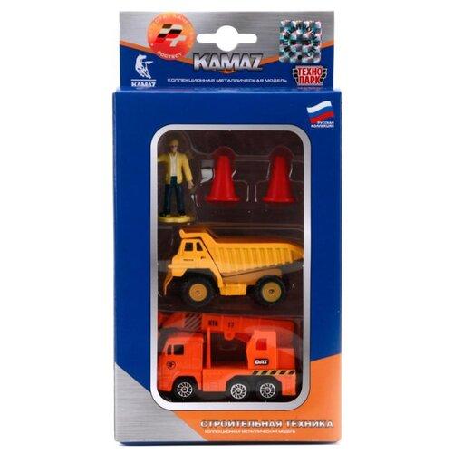 Набор техники ТЕХНОПАРК из двух моделей КамАЗ Стройтехника с аксессуарами и фигуркой (SB-15-30) 7.5 см оранжевый/желтый