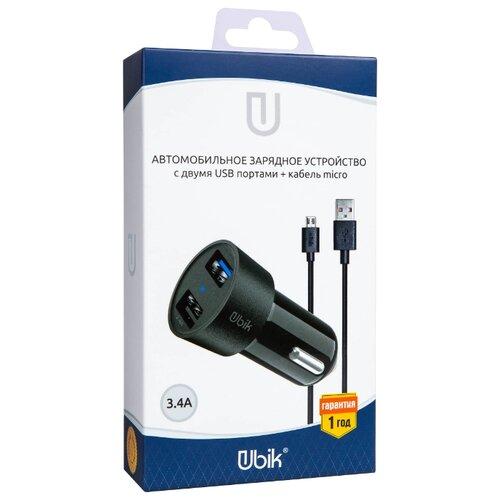 Автомобильная зарядка Ubik UCP23M черныйЗарядные устройства и адаптеры<br>