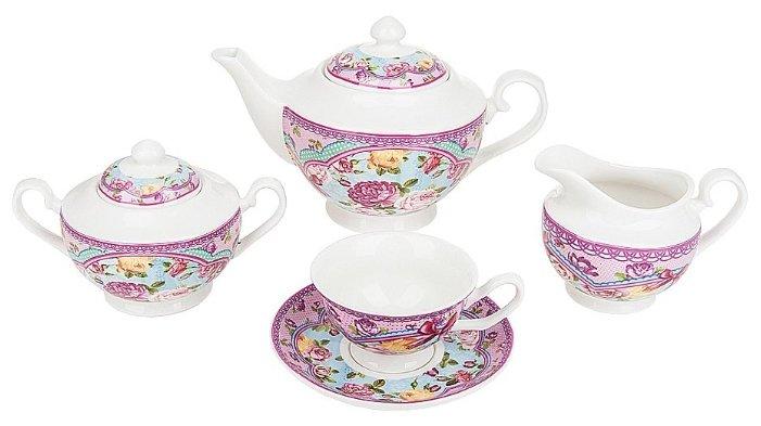столовые сервизы Leander Фарфоровый столовый сервиз на 6 персон, 25 предметов, розовый/декор