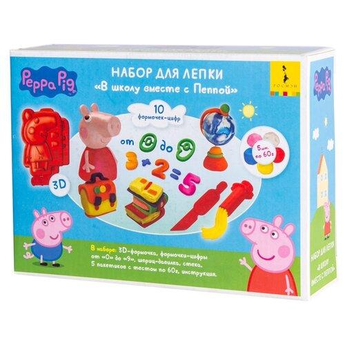 Купить Масса для лепки РОСМЭН Свинка Пеппа 5 цветов по 60г (33512), Пластилин и масса для лепки