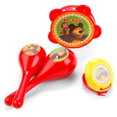 Купить Играем вместе набор инструментов Маша и Медведь B1251841-R красный/желтый/зеленый, Детские музыкальные инструменты