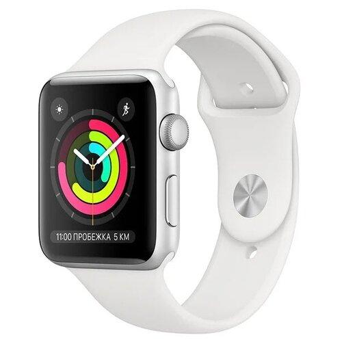 Умные часы Apple Watch Series 3 38мм Aluminum Case with Sport Band, серебристый/белый умные часы apple watch series 6 gps 44mm aluminum case with sport band white серебристый белый
