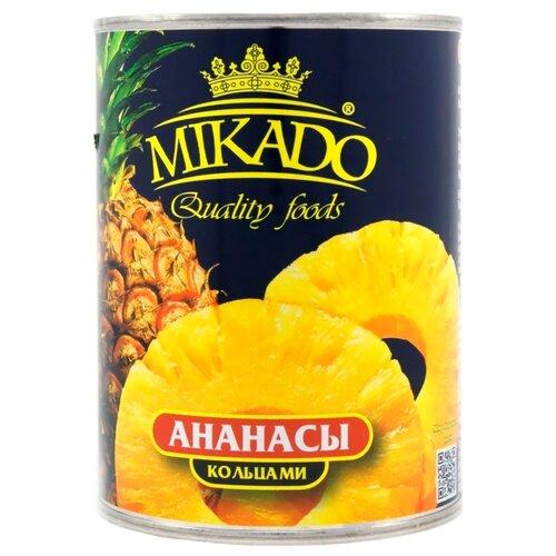 Консервированные ананасы MIKADO кольцами в сиропе, жестяная банка 340 гФрукты и ягоды консервированные<br>