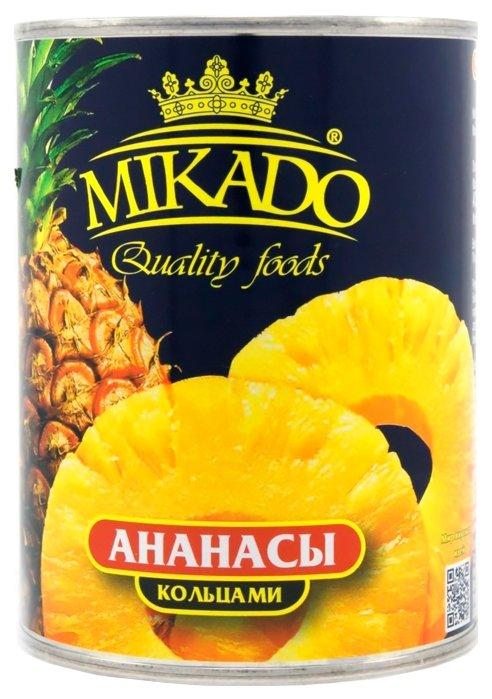 Консервированные ананасы MIKADO кольцами в сиропе, жестяная банка 340 г 580 мл