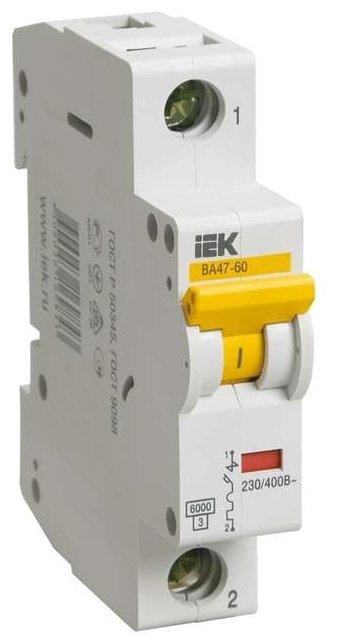 Автоматический выключатель IEK ВА 47-60 1P (C) 6kA