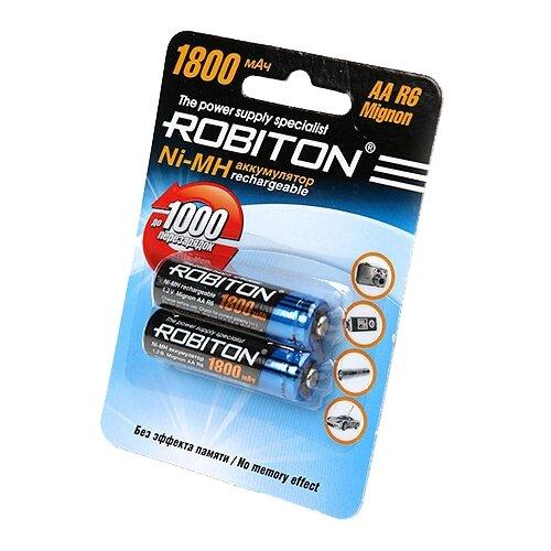 Купить Аккумулятор Ni-Mh 1800 мА·ч ROBITON AA R6 Mignon 1800 2 шт блистер
