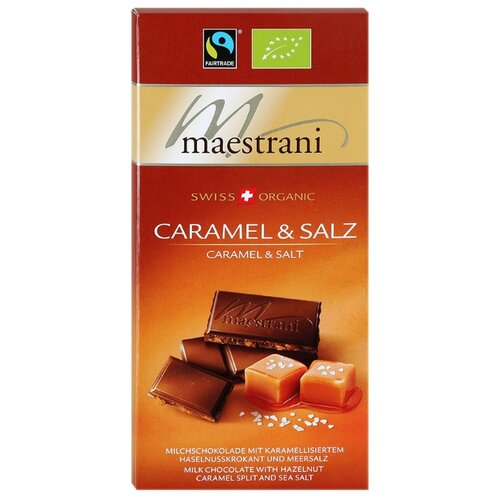шоколад ameri молочный с карамелью и морской солью 100 г Шоколад Maestrani молочный с карамелизированным фундуком и морской солью, 34% какао, 80 г