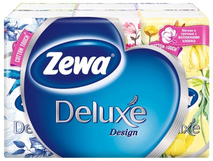 Платочки Zewa Deluxe Design бумажные носовые, 3 слоя, 10 шт. x 10, 100 шт.