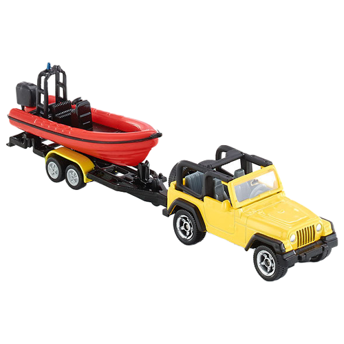 Купить Набор техники Siku Джип с лодкой (1658) 1:55 79.6 см желтый, Машинки и техника