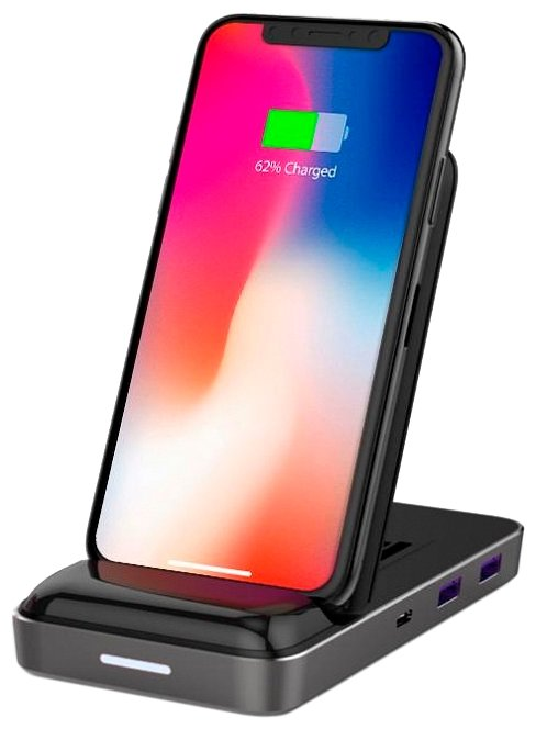 Док-станция HyperDrive 7.5W Qi Wireless Charger & USB-C Hub с беспроводной зарядкой (Black)