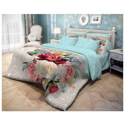Постельное белье евростандарт Волшебная ночь Weave 704039 ранфорс бежевый/голубойКомплекты<br>