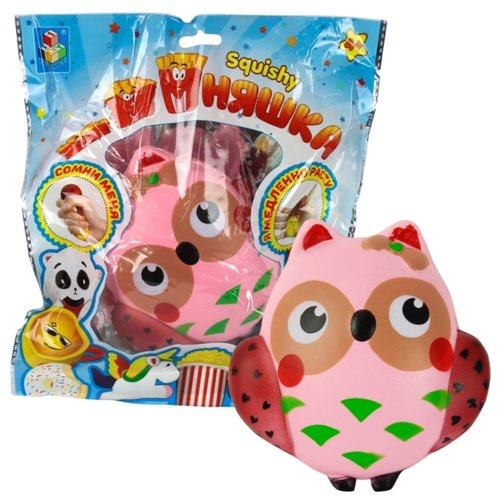 Игрушка-мялка 1 TOY Сова Т12421 розовый
