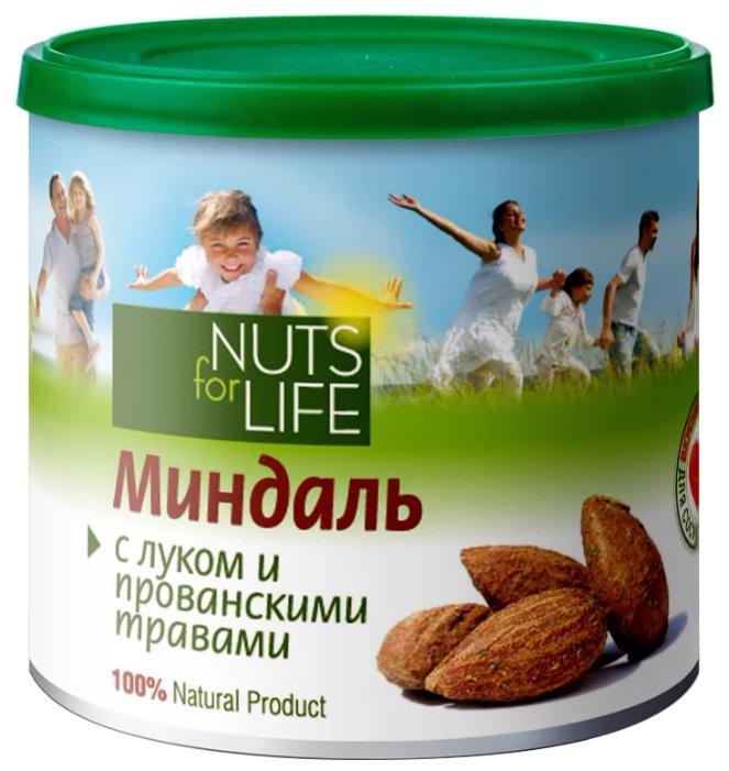 Миндаль Nuts for Life обжаренный соленый с луком и прованскими травами, пластиковая банка 115 г