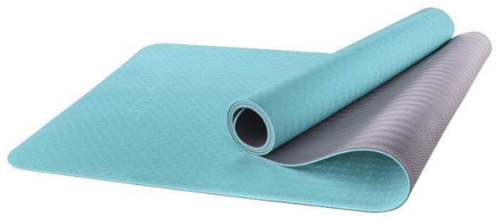 Starfit Коврик для йоги FM-201, TPE, 173x61x0,6 см, мятный/серый