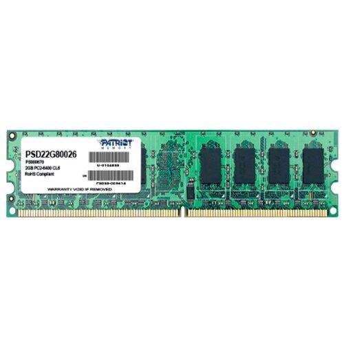 Оперативная память Patriot Memory DDR2 800 (PC 6400) DIMM 240 pin, 2 ГБ 1 шт. 1.8 В, CL 6, PSD22G80026  - купить со скидкой