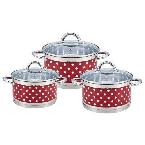 Набор кастрюль Rainstahl 1626-06RS\CW 6 пр. красный в горошек набор посуды rainstahl 6 предметов 1616 06rs cw