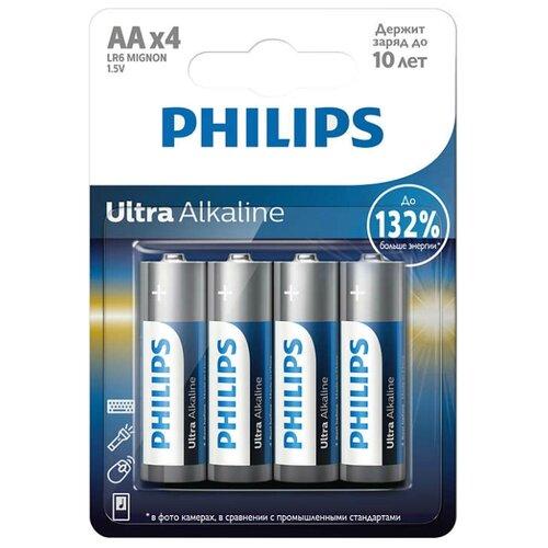 Батарейка Philips Ultra Alkaline AA 4 шт блистер