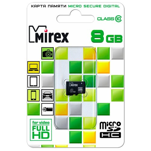 Карта памяти Mirex microSDHC Class 10 8GB