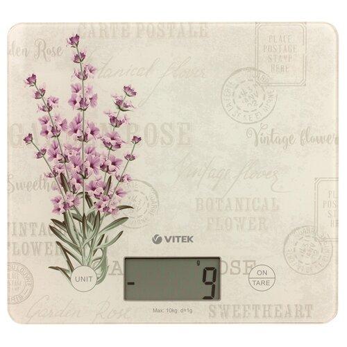 Кухонные весы VITEK VT-8020 бежевый/фиолетовый