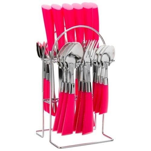 MAYER & BOCH Набор столовых приборов на подставке 20687, 25 шт. розовый / серебристыйСтоловые приборы<br>