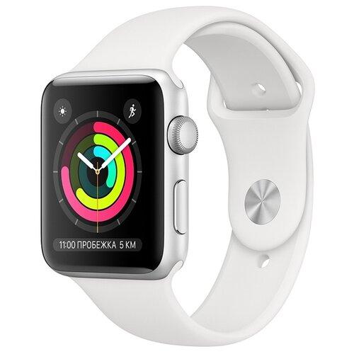Умные часы Apple Watch Series 3 42мм Aluminum Case with Sport Band, серебристый/белый умные часы apple watch series 6 gps 44mm aluminum case with sport band white серебристый белый