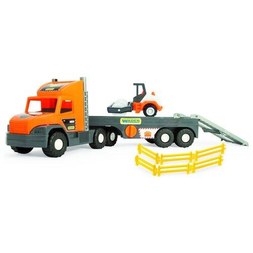 Купить Набор техники Wader Super Tech Truck - Грузовик с катком для асфальта (36740) 76 см серый/оранжевый, Машинки и техника