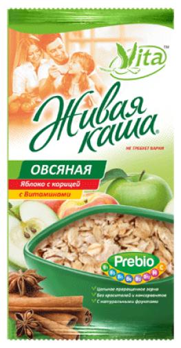 Живая каша Vita Овсяная яблоко с корицей 240гр (Vita живая каша)
