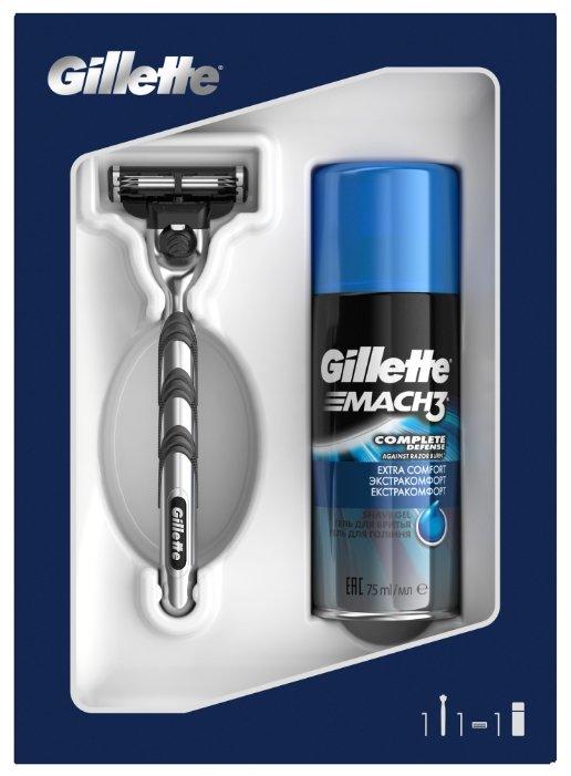 Набор Gillette подарочный: гель для бритья Extra Comfort 75 мл, бритвенный станок Mach3