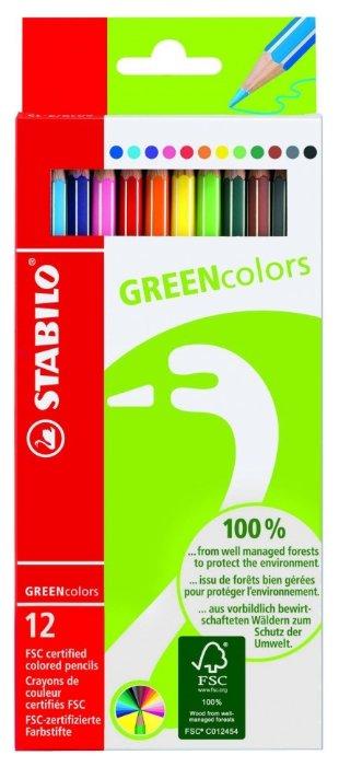 STABILO Цветные карандаши GREEN colors 12 цветов (6019/2-12)