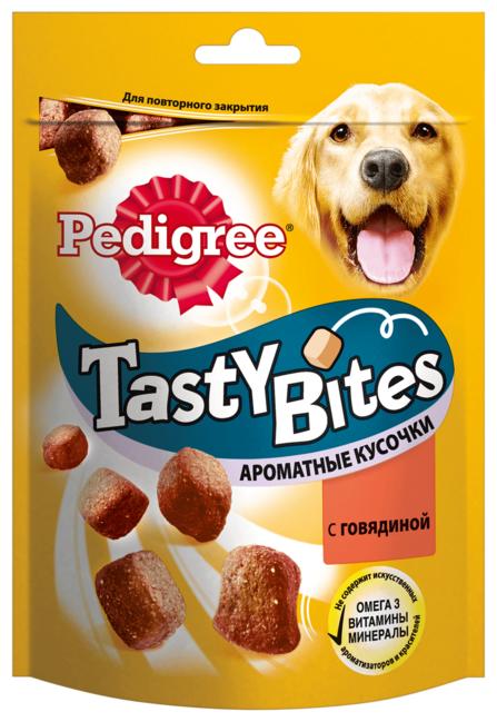 Лакомство для собак Pedigree Tasty Bites ароматные кусочки с говядиной