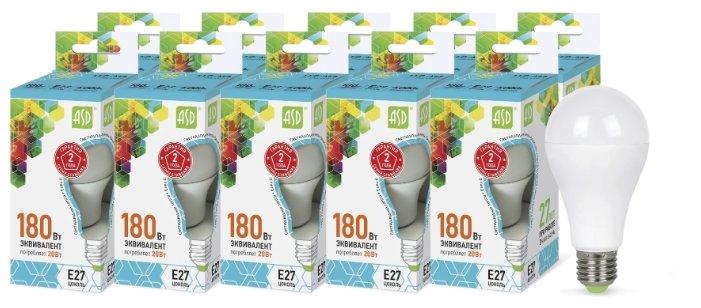 Упаковка светодиодных ламп 10 шт ASD LED-A60-standard E27, A60, 20Вт, 4000К