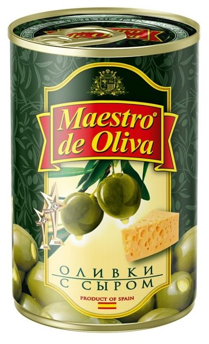 Maestro De Oliva Оливки с сыром в рассоле, жестяная банка 300 г