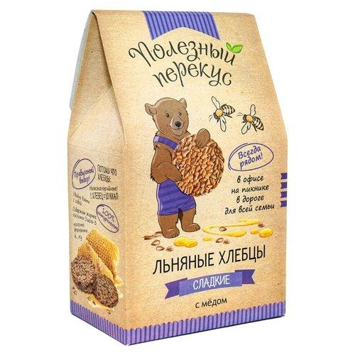 Хлебцы льняные Полезный перекус сладкие с медом 100 г