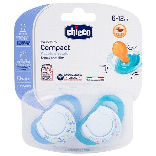 Пустышка латексная ортодонтическая Chicco Physio Compact 6-12 м (2 шт) голубой/синийПустышки и аксессуары<br>