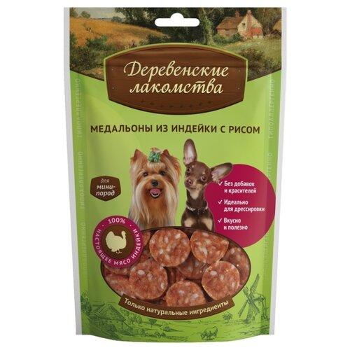 Лакомство для собак Деревенские лакомства для мини-пород Медальоны из индейки с рисом, 55 г