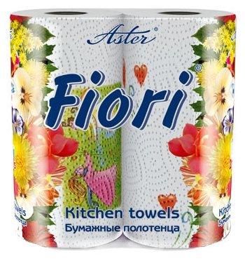 Полотенца бумажные Aster Fiori белые двухслойные 2 шт.
