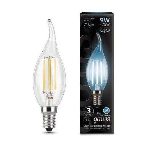 Лампа светодиодная gauss 104801209, E14, CA35, 9Вт лампа светодиодная gauss 13519 gu5 3 jcdr 9вт