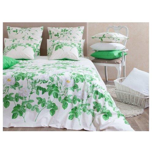 Постельное белье 2-спальное Хлопковый Край Цветочные сны Альба 70 x 70 бязь белый/зеленый