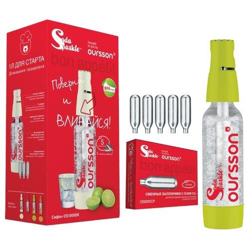 Сифон для газирования воды + баллоны Oursson OS1000SK 6 шт. зеленое яблоко