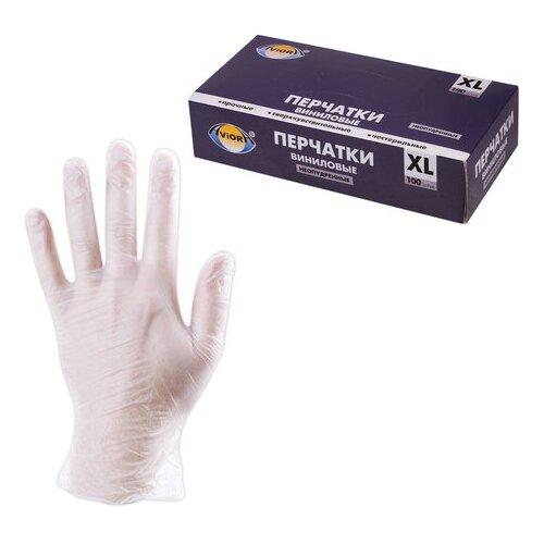 Перчатки Aviora Виниловые неопудренные, 50 пар, размер XL, цвет белый