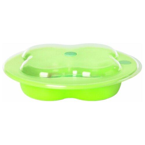 Тарелка Bebe confort в форме клевера с крышкой green