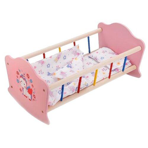 Купить Карапуз Кроватка для куклы Милый пони (RB-P-P) розовый/белый, Мебель для кукол