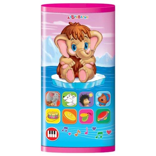 Интерактивная развивающая игрушка Азбукварик Смартфончик двусторонний Мамонтёнок и мультяшки синий/фиолетовый